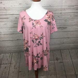 Agnes & Dora SS Everyday Tee Pink/Taupe Floral XL